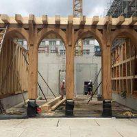 Die Holzkonstruktion des Hauses