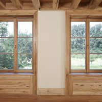 Die gesamten Fensterelemente wurden aus Altholz angefertigt.