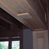 Die Türzargen wurden aus Altholz gefertigt.